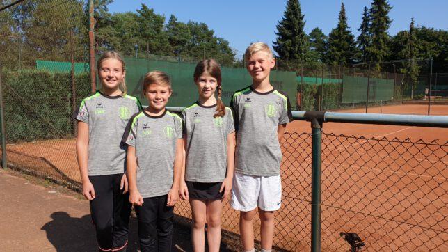 Die Midcourt-Mannschaft auf dem Bild von links: Stina Thomalla, David Gossin, Emma Dallmer, Luis Krohn